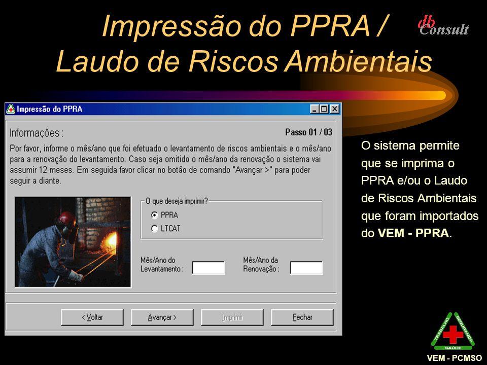 Impressão do PPRA / Laudo de Riscos Ambientais O sistema permite que se imprima o PPRA e/ou o Laudo de Riscos Ambientais que foram importados do VEM -