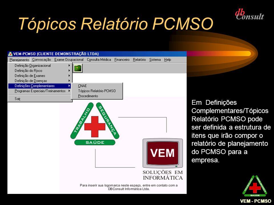 VEM - PCMSO Tópicos Relatório PCMSO Em Definições Complementares/Tópicos Relatório PCMSO pode ser definida a estrutura de itens que irão compor o rela