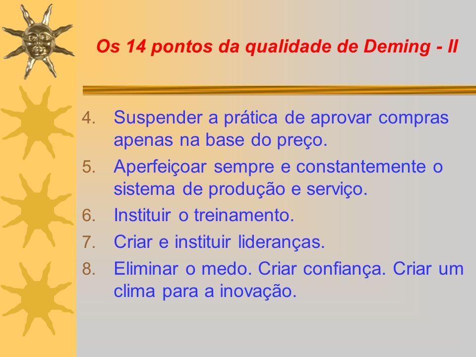 Os 14 pontos da qualidade de Deming - II 4. Suspender a prática de aprovar compras apenas na base do preço. 5. Aperfeiçoar sempre e constantemente o s