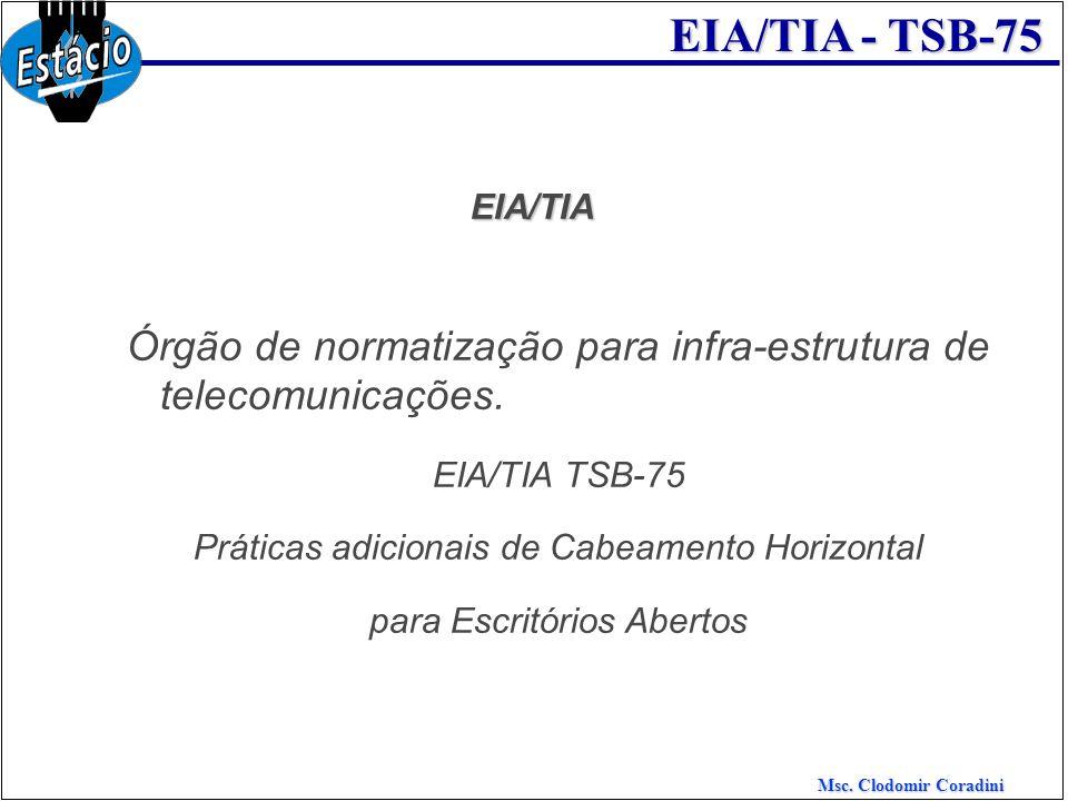 Msc. Clodomir Coradini EIA/TIA - TSB-75 EIA/TIA Órgão de normatização para infra-estrutura de telecomunicações. EIA/TIA TSB-75 Práticas adicionais de