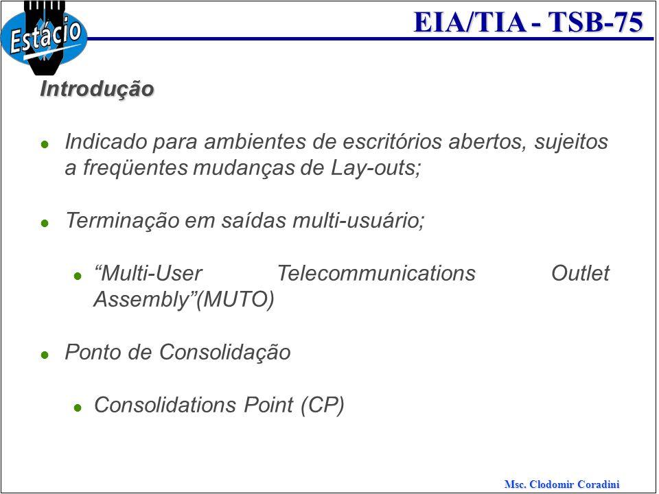 Msc. Clodomir Coradini EIA/TIA - TSB-75 Introdução Indicado para ambientes de escritórios abertos, sujeitos a freqüentes mudanças de Lay-outs; Termina
