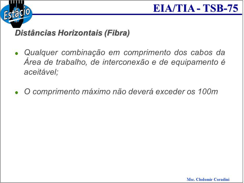 Msc. Clodomir Coradini EIA/TIA - TSB-75 Distâncias Horizontais (Fibra) Qualquer combinação em comprimento dos cabos da Área de trabalho, de interconex