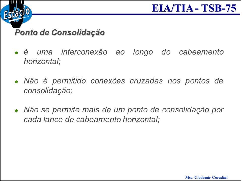 Msc. Clodomir Coradini EIA/TIA - TSB-75 Ponto de Consolidação é uma interconexão ao longo do cabeamento horizontal; Não é permitido conexões cruzadas