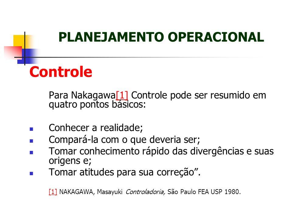 Controle Para Nakagawa[1] Controle pode ser resumido em quatro pontos básicos:[1] Conhecer a realidade; Compará-la com o que deveria ser; Tomar conhec