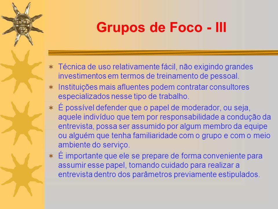 Grupos de Foco - III Técnica de uso relativamente fácil, não exigindo grandes investimentos em termos de treinamento de pessoal.