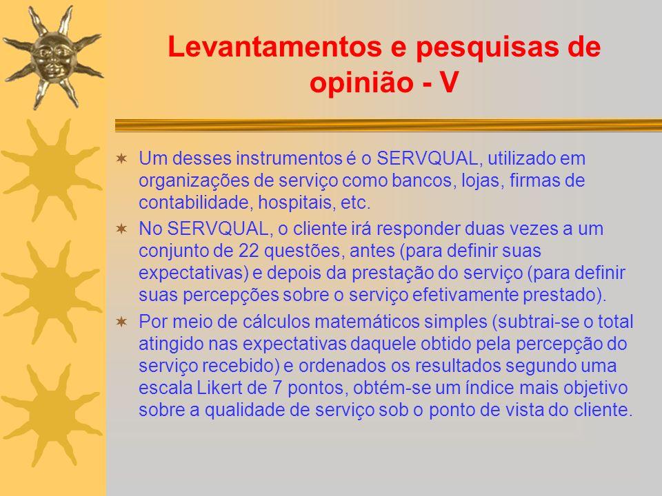 Levantamentos e pesquisas de opinião - V Um desses instrumentos é o SERVQUAL, utilizado em organizações de serviço como bancos, lojas, firmas de contabilidade, hospitais, etc.