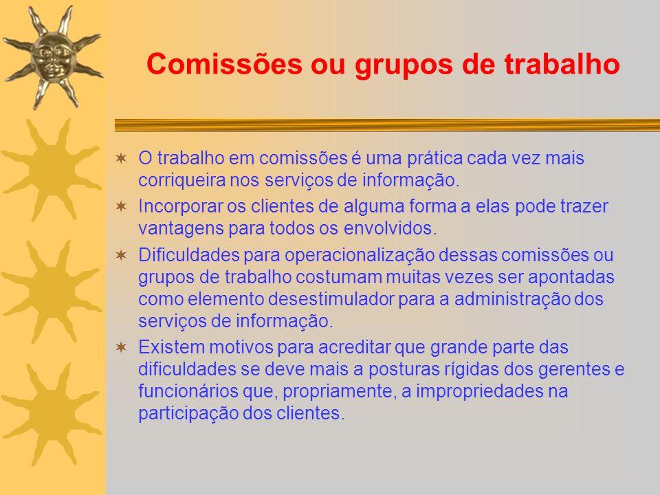 Comissões ou grupos de trabalho O trabalho em comissões é uma prática cada vez mais corriqueira nos serviços de informação.