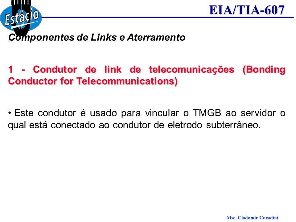 Msc. Clodomir Coradini EIA/TIA-607 Componentes de Links e Aterramento 1 - Condutor de link de telecomunicações (Bonding Conductor for Telecommunicatio