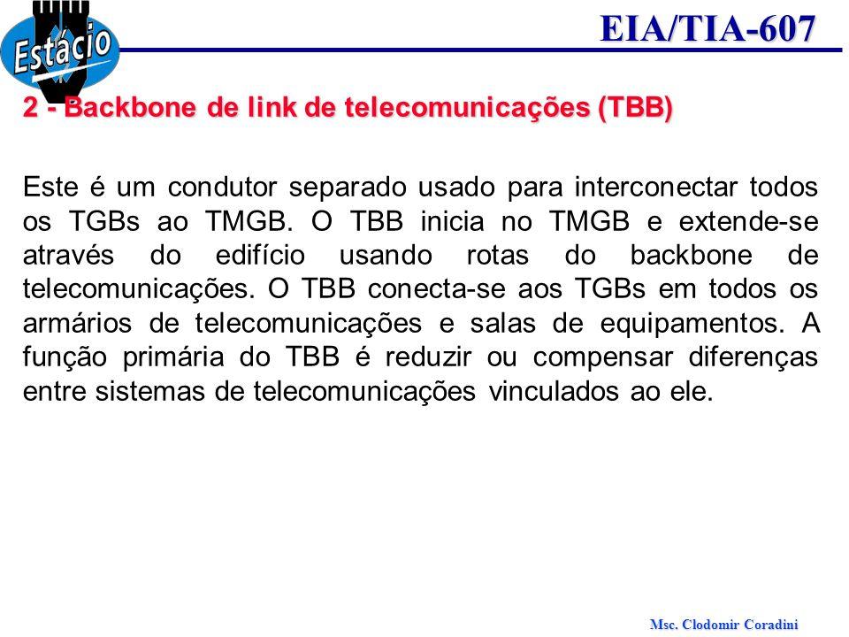 Msc. Clodomir Coradini EIA/TIA-607 2 - Backbone de link de telecomunicações (TBB) Este é um condutor separado usado para interconectar todos os TGBs a