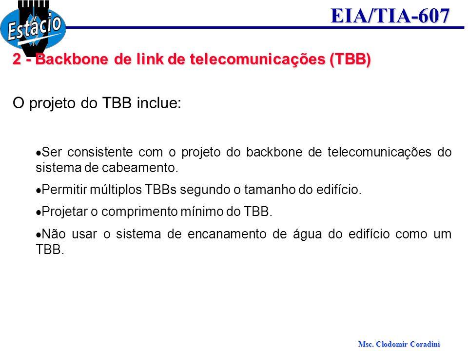 Msc. Clodomir Coradini EIA/TIA-607 2 - Backbone de link de telecomunicações (TBB) O projeto do TBB inclue: Ser consistente com o projeto do backbone d