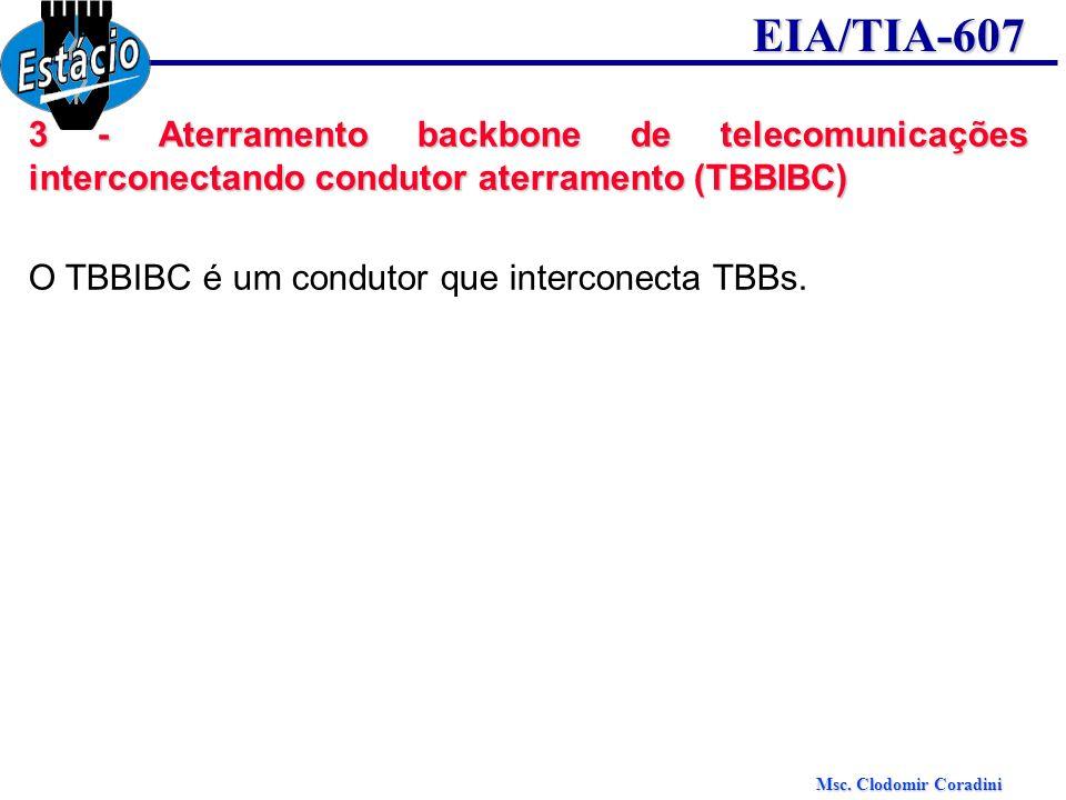Msc. Clodomir Coradini EIA/TIA-607 3 - Aterramento backbone de telecomunicações interconectando condutor aterramento (TBBIBC) O TBBIBC é um condutor q