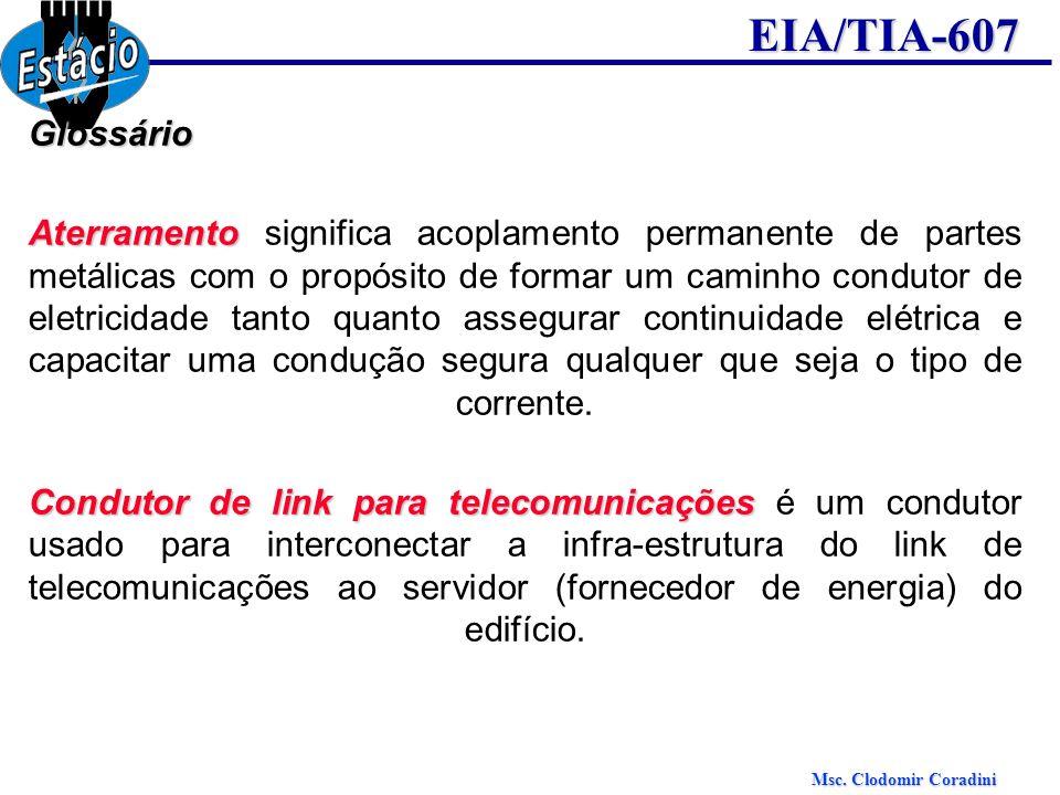 Msc. Clodomir Coradini EIA/TIA-607Glossário Aterramento Aterramento significa acoplamento permanente de partes metálicas com o propósito de formar um