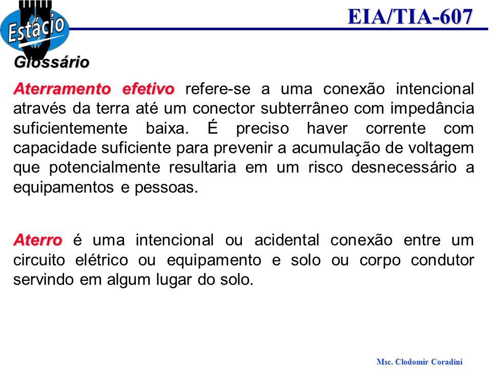Msc. Clodomir Coradini EIA/TIA-607Glossário Aterramento efetivo Aterramento efetivo refere-se a uma conexão intencional através da terra até um conect