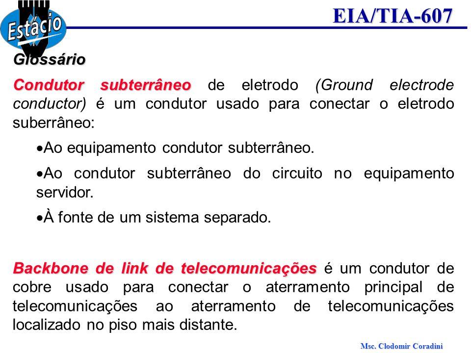Msc. Clodomir Coradini EIA/TIA-607Glossário Condutor subterrâneo Condutor subterrâneo de eletrodo (Ground electrode conductor) é um condutor usado par
