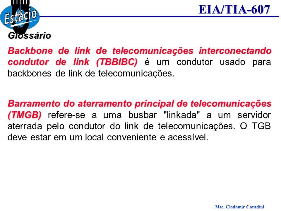 Msc. Clodomir Coradini EIA/TIA-607Glossário Backbone de link de telecomunicações interconectando condutor de link (TBBIBC) Backbone de link de telecom