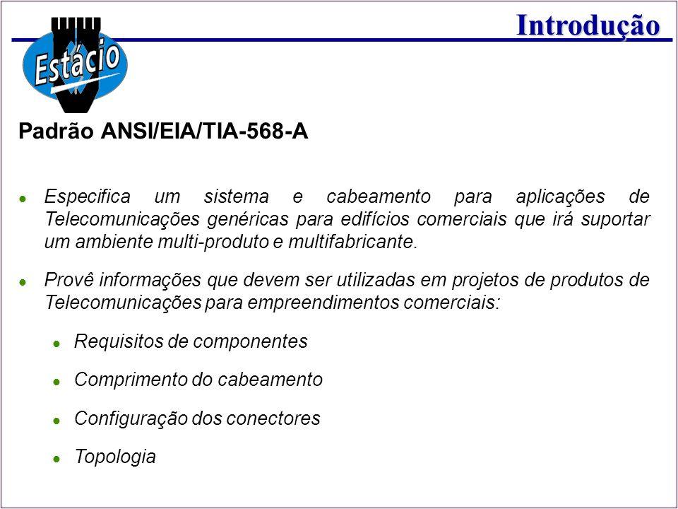 Introdução Padrão ANSI/EIA/TIA-568-A Especifica um sistema e cabeamento para aplicações de Telecomunicações genéricas para edifícios comerciais que ir