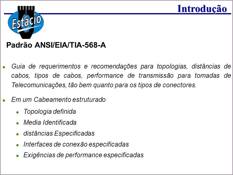 Introdução Padrão ANSI/EIA/TIA-568-A Guia de requerimentos e recomendações para topologias, distâncias de cabos, tipos de cabos, performance de transm