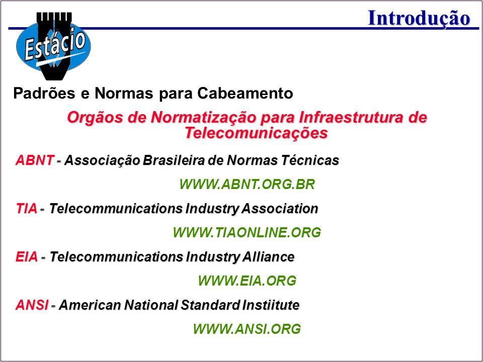 Introdução Padrões e Normas para Cabeamento Orgãos de Normatização para Infraestrutura de Telecomunicações ABNT - Associação Brasileira de Normas Técn