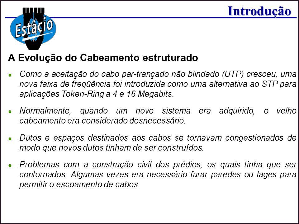 Introdução Como a aceitação do cabo par-trançado não blindado (UTP) cresceu, uma nova faixa de freqüência foi introduzida como uma alternativa ao STP