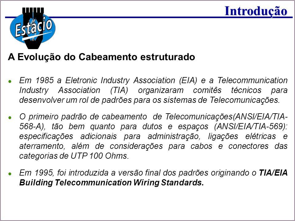 Introdução Em 1985 a Eletronic Industry Association (EIA) e a Telecommunication Industry Association (TIA) organizaram comitês técnicos para desenvolv