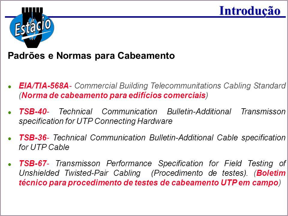 Introdução Padrões e Normas para Cabeamento EIA/TIA-568A- Commercial Building Telecommunitations Cabling Standard (Norma de cabeamento para edifícios