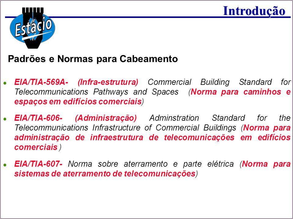 Introdução Padrões e Normas para Cabeamento EIA/TIA-569A- (Infra-estrutura) Commercial Building Standard for Telecommunications Pathways and Spaces (N