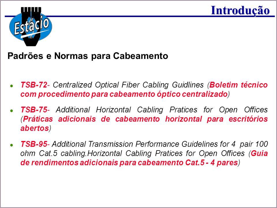 Introdução Padrões e Normas para Cabeamento TSB-72- Centralized Optical Fiber Cabling Guidlines (Boletim técnico com procedimento para cabeamento ópti