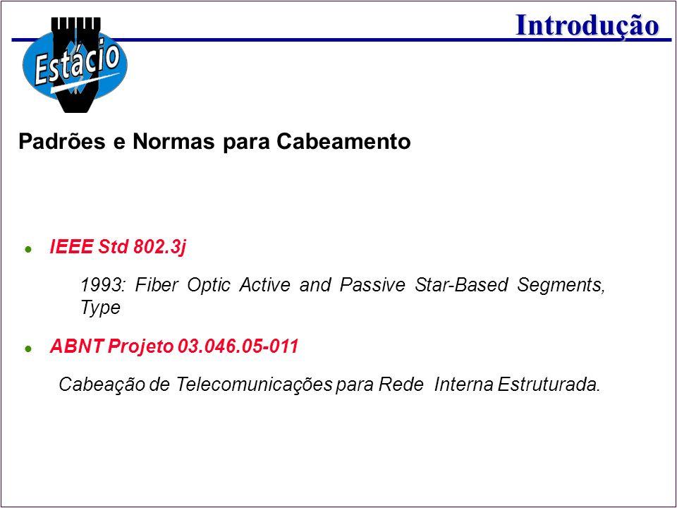 Introdução IEEE Std 802.3j 1993: Fiber Optic Active and Passive Star-Based Segments, Type ABNT Projeto 03.046.05-011 Cabeação de Telecomunicações para