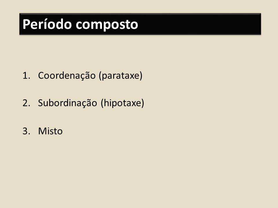 Período composto 1.Coordenação (parataxe) 2.Subordinação (hipotaxe) 3.Misto