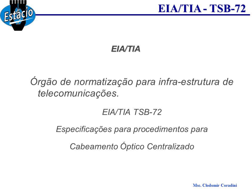 Msc. Clodomir Coradini EIA/TIA - TSB-72 EIA/TIA Órgão de normatização para infra-estrutura de telecomunicações. EIA/TIA TSB-72 Especificações para pro