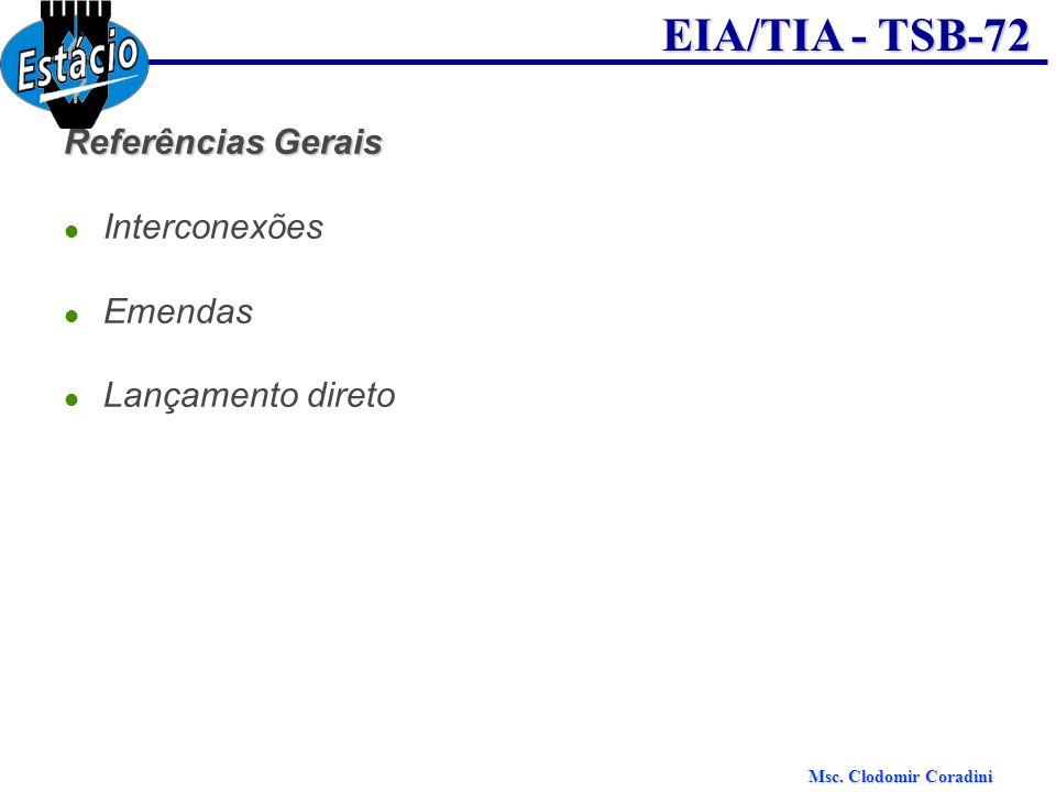 Msc.Clodomir Coradini EIA/TIA - TSB-72 Referências Gerais Cabos de Manobra Terminações Cab.