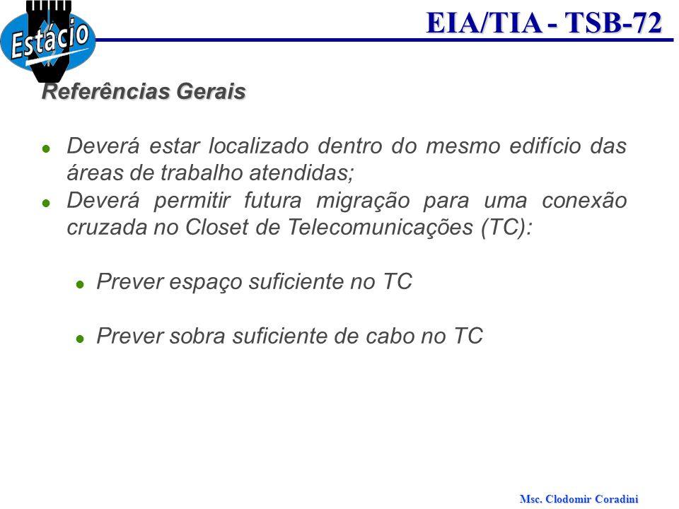 Msc. Clodomir Coradini EIA/TIA - TSB-72 Referências Gerais Deverá estar localizado dentro do mesmo edifício das áreas de trabalho atendidas; Deverá pe