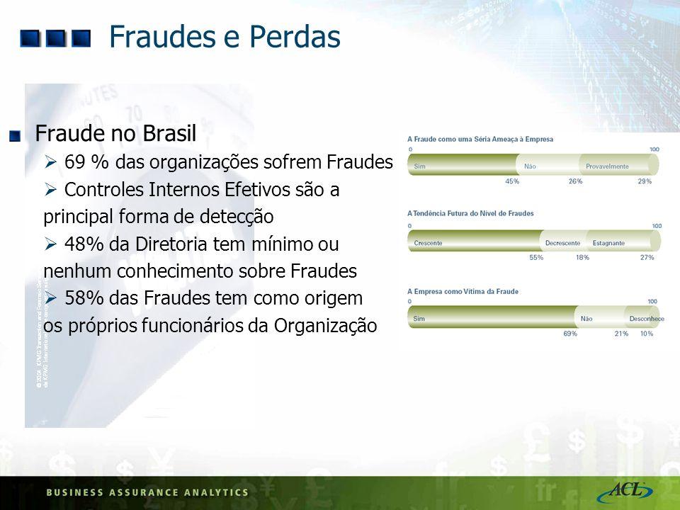 Fraudes e Perdas Fraude no Brasil 69 % das organizações sofrem Fraudes Controles Internos Efetivos são a principal forma de detecção 48% da Diretoria