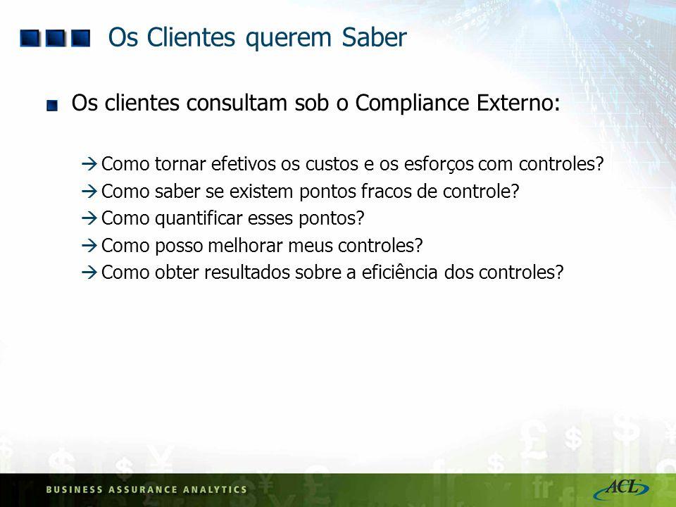 Os Clientes querem Saber Os clientes consultam sob o Compliance Externo: Como tornar efetivos os custos e os esforços com controles? Como saber se exi