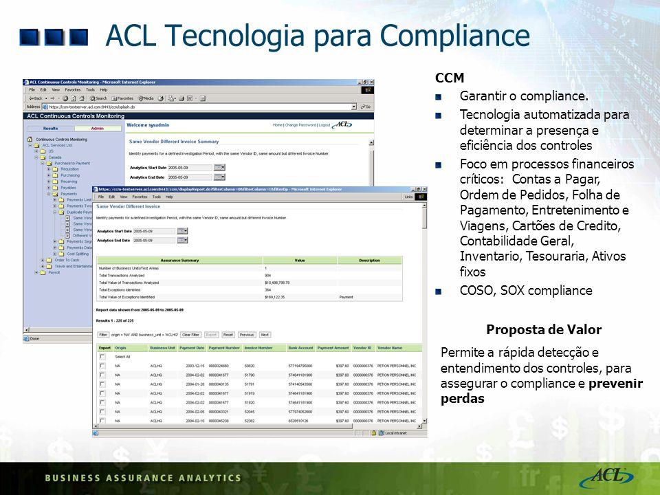 ACL Tecnologia para Compliance CCM Garantir o compliance. Tecnologia automatizada para determinar a presença e eficiência dos controles Foco em proces