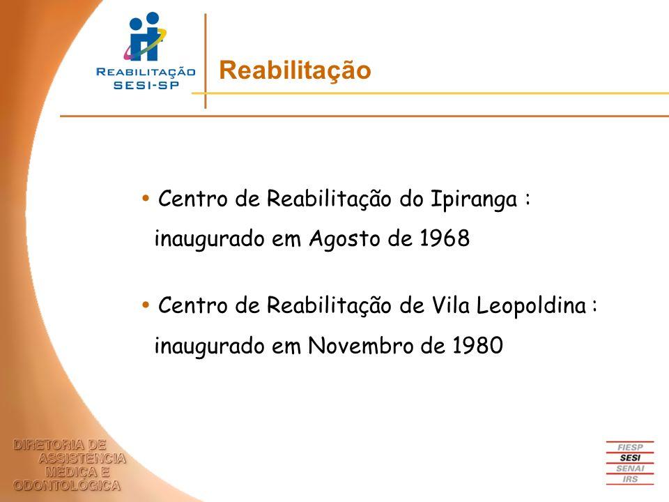 Centro de Reabilitação do Ipiranga : inaugurado em Agosto de 1968 Centro de Reabilitação de Vila Leopoldina : inaugurado em Novembro de 1980 Reabilita