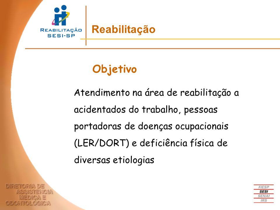 Atendimento na área de reabilitação a acidentados do trabalho, pessoas portadoras de doenças ocupacionais (LER/DORT) e deficiência física de diversas
