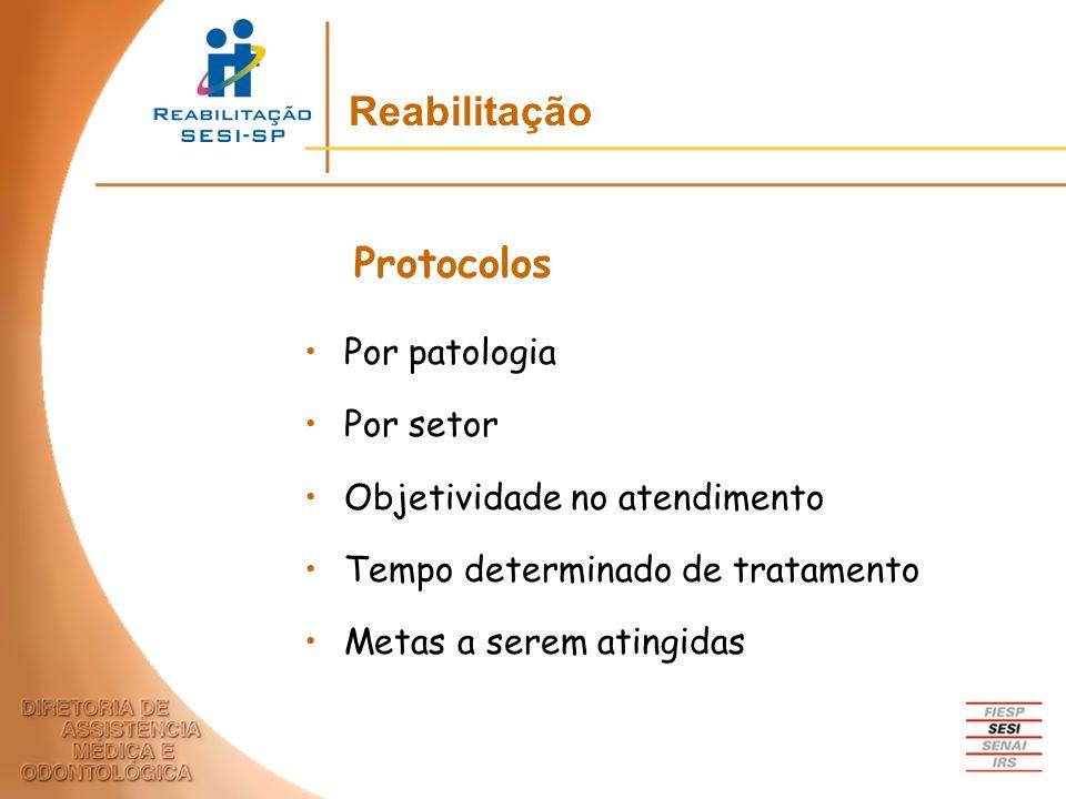 Por patologia Por setor Objetividade no atendimento Tempo determinado de tratamento Metas a serem atingidas Protocolos Reabilitação