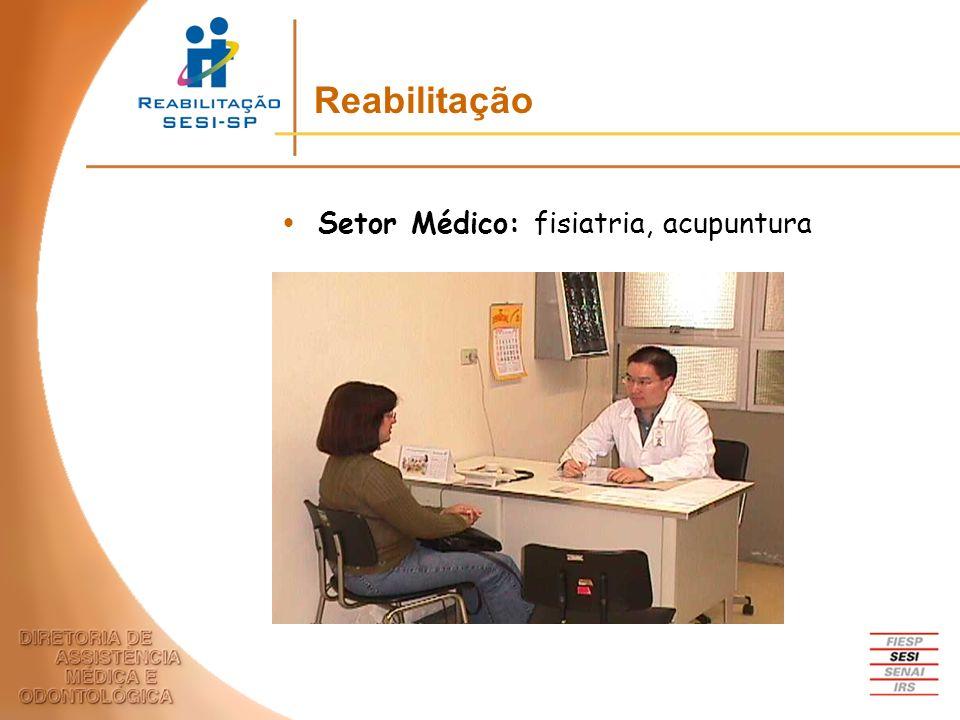Setor Médico: fisiatria, acupuntura Reabilitação