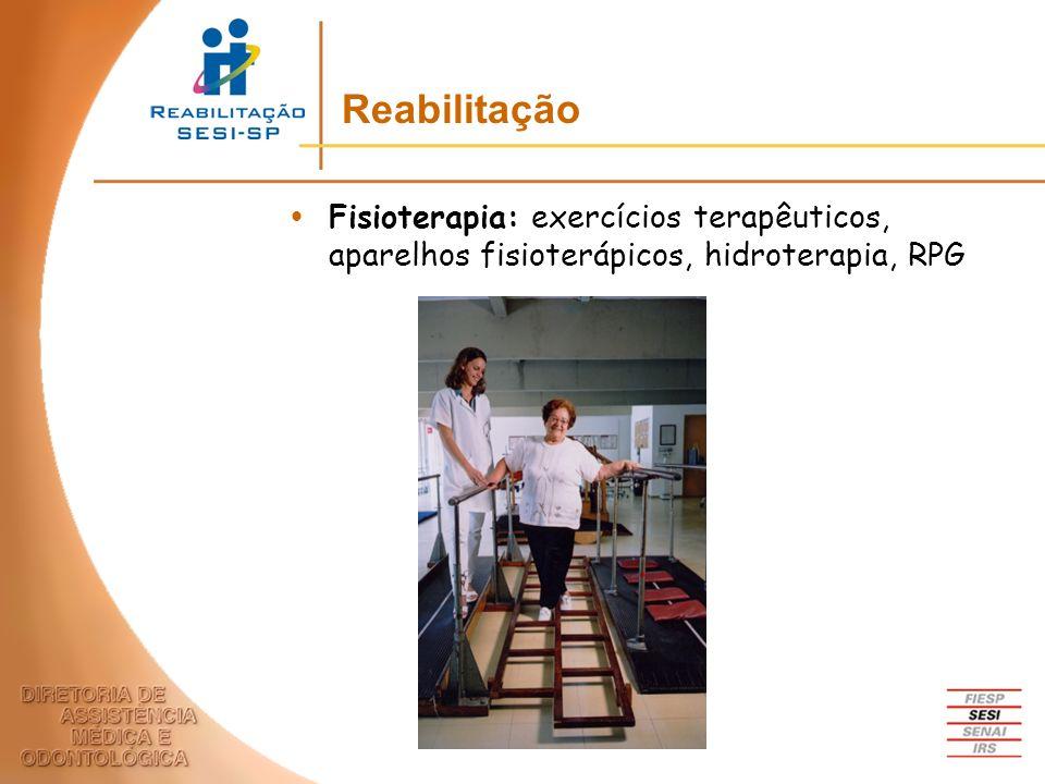 Fisioterapia: exercícios terapêuticos, aparelhos fisioterápicos, hidroterapia, RPG Reabilitação