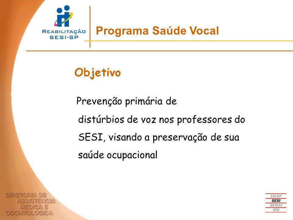 Prevenção primária de distúrbios de voz nos professores do SESI, visando a preservação de sua saúde ocupacional Programa Saúde Vocal Objetivo
