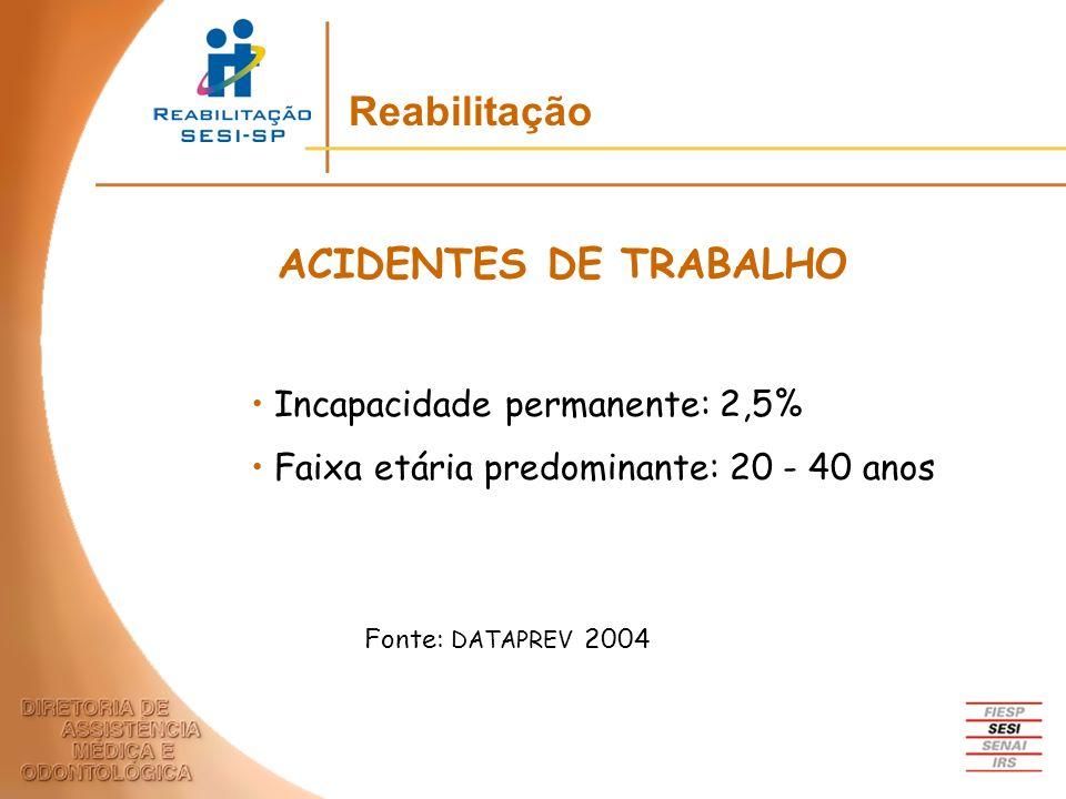 Incapacidade permanente: 2,5% Faixa etária predominante: 20 - 40 anos ACIDENTES DE TRABALHO Fonte: DATAPREV 2004 Reabilitação