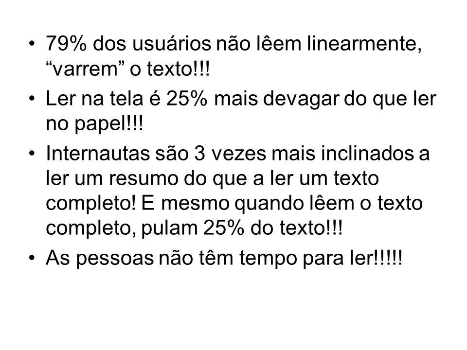 79% dos usuários não lêem linearmente, varrem o texto!!! Ler na tela é 25% mais devagar do que ler no papel!!! Internautas são 3 vezes mais inclinados