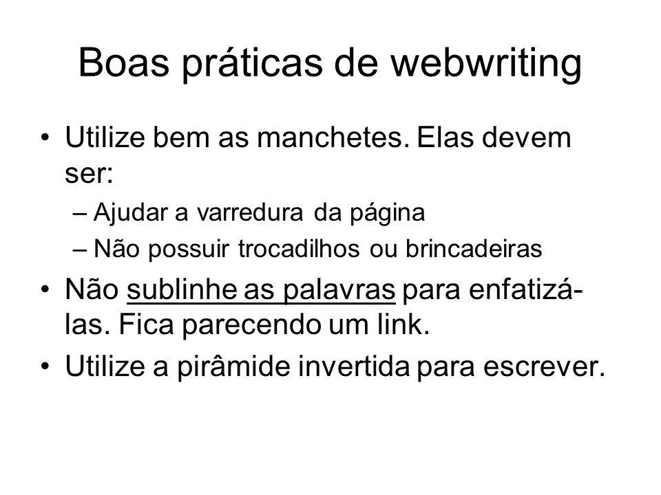 Boas práticas de webwriting Utilize bem as manchetes. Elas devem ser: –Ajudar a varredura da página –Não possuir trocadilhos ou brincadeiras Não subli