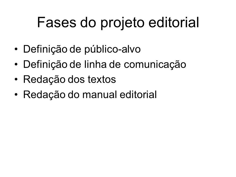 Fases do projeto editorial Definição de público-alvo Definição de linha de comunicação Redação dos textos Redação do manual editorial