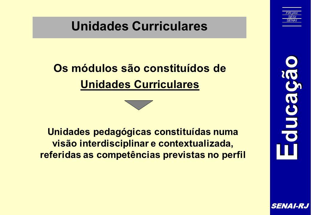SENAI-RJ E ducação Unidades Curriculares Unidades pedagógicas constituídas numa visão interdisciplinar e contextualizada, referidas as competências pr