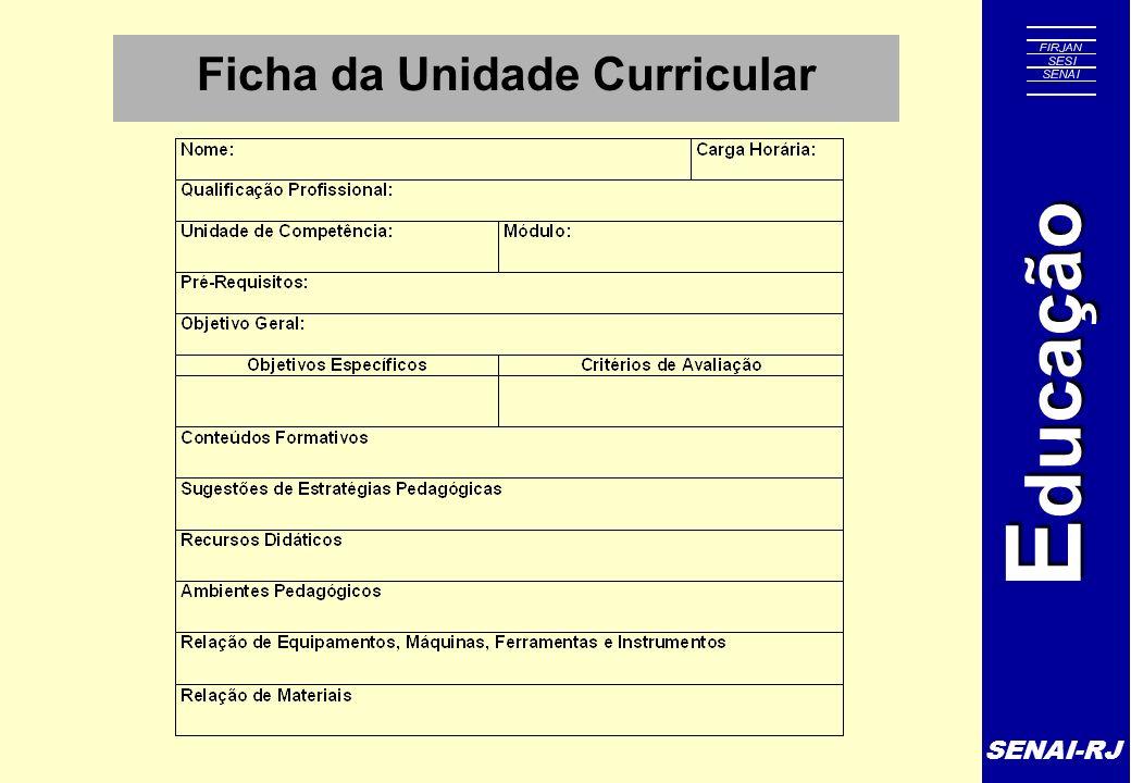 SENAI-RJ E ducação Ficha da Unidade Curricular