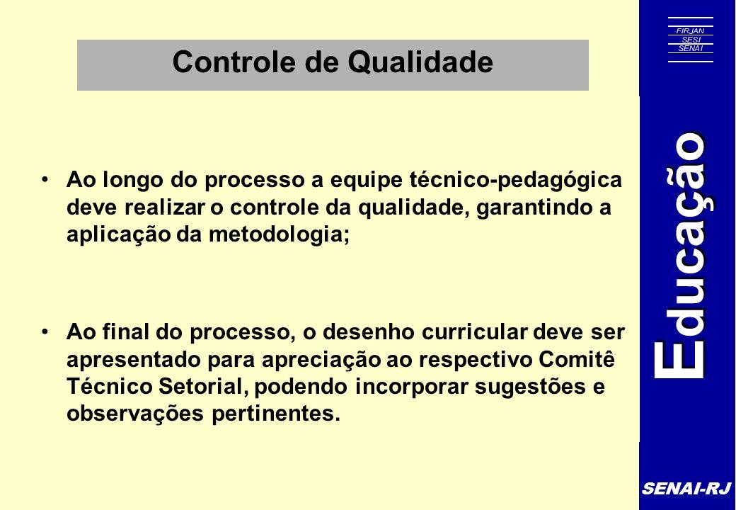 SENAI-RJ E ducação Controle de Qualidade Ao longo do processo a equipe técnico-pedagógica deve realizar o controle da qualidade, garantindo a aplicaçã