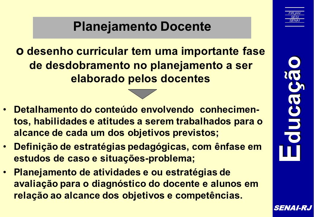 SENAI-RJ E ducação Planejamento Docente o desenho curricular tem uma importante fase de desdobramento no planejamento a ser elaborado pelos docentes D