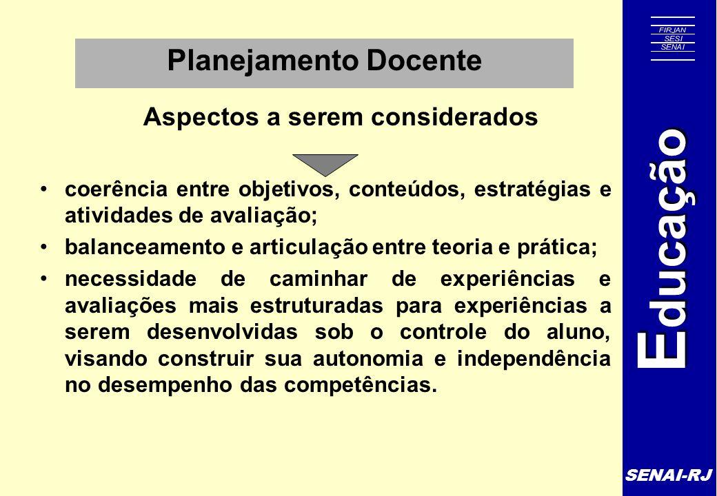 SENAI-RJ E ducação Planejamento Docente Aspectos a serem considerados coerência entre objetivos, conteúdos, estratégias e atividades de avaliação; bal